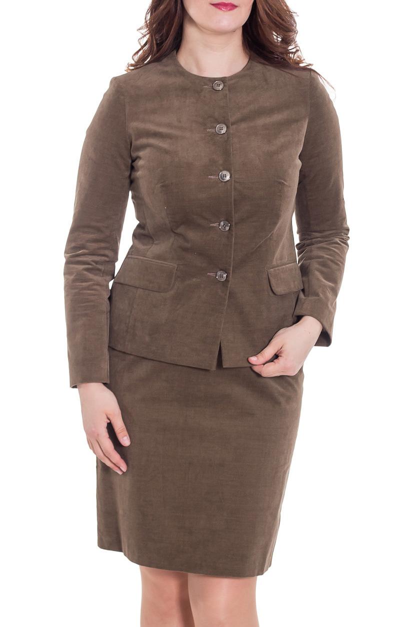 КостюмКостюмы<br>Великолепный костюм из плотной костюмной ткани. Костюм состоит из жакета и юбки. Отличный выбор для повседневного и делового гардероба.  Цвет: коричневый  Рост девушки-фотомодели 180 см<br><br>Горловина: С- горловина<br>Застежка: С пуговицами<br>По длине: Ниже колена<br>По рисунку: Однотонные<br>По сезону: Зима,Осень,Весна<br>По силуэту: Приталенные<br>По стилю: Офисный стиль,Повседневный стиль<br>По форме: Костюм двойка,Юбочные<br>Рукав: Длинный рукав<br>Размер : 46,48<br>Материал: Вельвет<br>Количество в наличии: 2