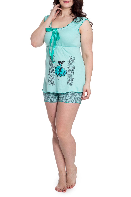 ПижамаПижамы<br>Хлопковая пижама состоит из майки и шорт. Домашняя одежда, прежде всего, должна быть удобной, практичной и красивой. В наших изделиях Вы будете чувствовать себя комфортно, особенно, по вечерам после трудового дня.  В изделии использованы цвета: бирюзовый, серый  Рост девушки-фотомодели 180 см.<br><br>Бретели: Широкие бретели<br>Горловина: С- горловина<br>По длине: До колена<br>По материалу: Трикотаж,Хлопок<br>По рисунку: С принтом,Цветные,Этнические<br>По сезону: Весна,Зима,Лето,Осень,Всесезон<br>По силуэту: Полуприталенные<br>По форме: Брючный костюм,Костюм двойка<br>По элементам: С декором<br>Рукав: Без рукавов<br>Размер : 50<br>Материал: Трикотаж<br>Количество в наличии: 1