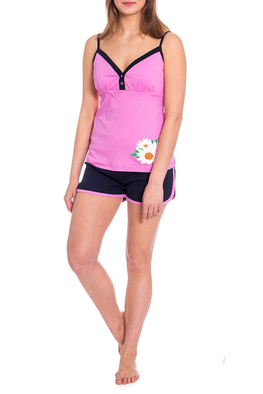 КомплектКомплекты и костюмы<br>Комплект состоит из майки и шорт. Майка прилегающего силуэта, длиной до линии бёдер. Майка на тонких бретелях. Шорты прямого силуэта.  В изделии использованы цвета: розовый, синий и др.  Рост девушки-фотомодели 173 см<br><br>Бретели: Тонкие бретели<br>По длине: До колена<br>По материалу: Трикотаж,Хлопок<br>По рисунку: Растительные мотивы,С принтом,Цветные<br>По сезону: Весна,Зима,Лето,Осень,Всесезон<br>По силуэту: Полуприталенные<br>По форме: Брючный костюм,Костюм двойка<br>Рукав: Без рукавов<br>Размер : 48<br>Материал: Хлопок<br>Количество в наличии: 1