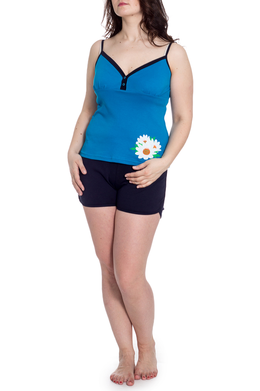 КомплектКомплекты и костюмы<br>Комплект состоит из майки и шорт. Майка прилегающего силуэта, длиной до линии бёдер. Майка на тонких бретелях. Шорты прямого силуэта.  В изделии использованы цвета: голубой, синий и др.  Рост девушки-фотомодели 180 см<br><br>Бретели: Тонкие бретели<br>По длине: До колена<br>По материалу: Трикотаж,Хлопок<br>По рисунку: Бабочки,С принтом,Цветные<br>По сезону: Весна,Зима,Лето,Осень,Всесезон<br>По силуэту: Полуприталенные<br>По форме: Брючный костюм,Костюм двойка<br>Рукав: Без рукавов<br>Размер : 50<br>Материал: Хлопок<br>Количество в наличии: 1