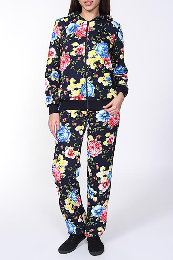 КостюмСпортивные костюмы<br>Оригинальный женский костюм (кофта + брюки). Застежка - молния. Цвет: на черном фоне цветочный принт.<br><br>По длине: Макси<br>По рисунку: Растительные мотивы,Цветные,Цветочные,С принтом<br>По сезону: Весна,Осень<br>По силуэту: Полуприталенные<br>По форме: Костюм двойка,Брюки<br>По элементам: С карманами,С манжетами<br>Рукав: Длинный рукав<br>По материалу: Хлопок<br>По стилю: Молодежный стиль,Повседневный стиль,Спортивный стиль<br>Застежка: С молнией<br>Размер : 42,44,46<br>Материал: Трикотаж<br>Количество в наличии: 3