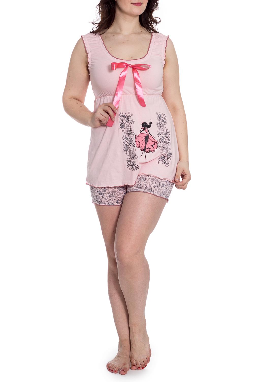ПижамаПижамы<br>Хлопковая пижама состоит из майки и шорт. Домашняя одежда, прежде всего, должна быть удобной, практичной и красивой. В наших изделиях Вы будете чувствовать себя комфортно, особенно, по вечерам после трудового дня.  В изделии использованы цвета: розовый, серый  Рост девушки-фотомодели 180 см.<br><br>Бретели: Широкие бретели<br>Горловина: С- горловина<br>По длине: До колена<br>По материалу: Трикотаж,Хлопок<br>По рисунку: С принтом,Цветные,Этнические<br>По сезону: Весна,Зима,Лето,Осень,Всесезон<br>По силуэту: Полуприталенные<br>По форме: Брючный костюм,Костюм двойка<br>По элементам: С декором<br>Рукав: Без рукавов<br>Размер : 46,48,50<br>Материал: Трикотаж<br>Количество в наличии: 3