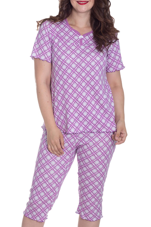 ПижамаПижамы<br>Хлопковая пижама состоит из туники и бридж. Домашняя одежда, прежде всего, должна быть удобной, практичной и красивой. В нашей домашней одежде Вы будете чувствовать себя комфортно, особенно, по вечерам после трудового дня.  Цвет: сиреневый, белый  Рост девушки-фотомодели 180 см.<br><br>Горловина: С- горловина<br>По рисунку: Цветные,С принтом,В клетку<br>По сезону: Весна,Осень<br>По силуэту: Полуприталенные<br>По форме: Брючные,Костюм двойка<br>Рукав: Короткий рукав<br>По длине: Ниже колена<br>По материалу: Хлопок<br>Размер : 44,46,48,50,52,54,56,58<br>Материал: Хлопок<br>Количество в наличии: 3