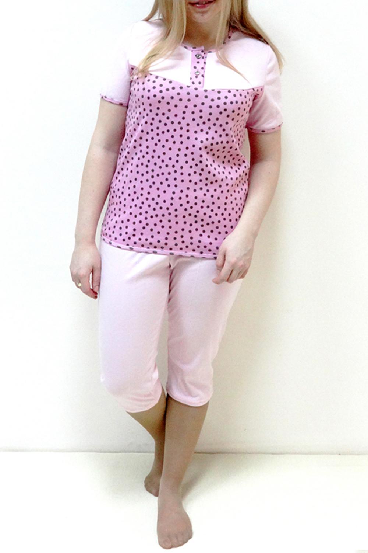 ПижамаПижамы<br>Хлопковая пижама состоит из футболки и бридж. Домашняя одежда, прежде всего, должна быть удобной, практичной и красивой. В наших изделиях Вы будете чувствовать себя комфортно, особенно, по вечерам после трудового дня.  Цвет: розовый, коричневый  Рост девушки-фотомодели 162 см.<br><br>Горловина: С- горловина<br>По рисунку: В горошек,Цветные,С принтом<br>По силуэту: Полуприталенные<br>По форме: Костюм двойка<br>Рукав: Короткий рукав<br>По сезону: Осень,Весна<br>По длине: Ниже колена<br>По материалу: Трикотаж,Хлопок<br>Размер : 46,48,50,52,56<br>Материал: Хлопок<br>Количество в наличии: 6