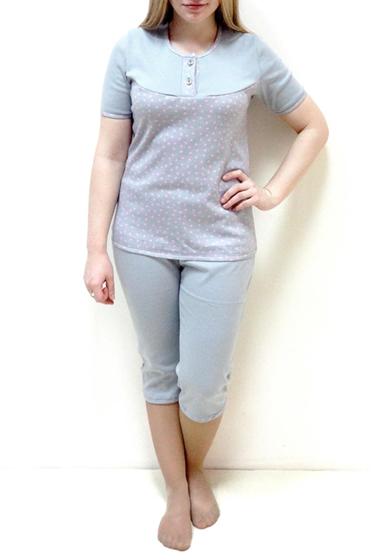 ПижамаПижамы<br>Хлопковая пижама состоит из футболки и бридж. Домашняя одежда, прежде всего, должна быть удобной, практичной и красивой. В наших изделиях Вы будете чувствовать себя комфортно, особенно, по вечерам после трудового дня. Ростовка изделия 164 см.  Цвет: серый, розовый  Рост девушки-фотомодели 162 см.<br><br>Горловина: С- горловина<br>По рисунку: В горошек,Цветные,С принтом<br>По силуэту: Полуприталенные<br>По форме: Костюм двойка<br>Рукав: Короткий рукав<br>По сезону: Осень,Весна<br>По длине: Ниже колена<br>По материалу: Трикотаж,Хлопок<br>Размер : 46,48,50,52<br>Материал: Хлопок<br>Количество в наличии: 5