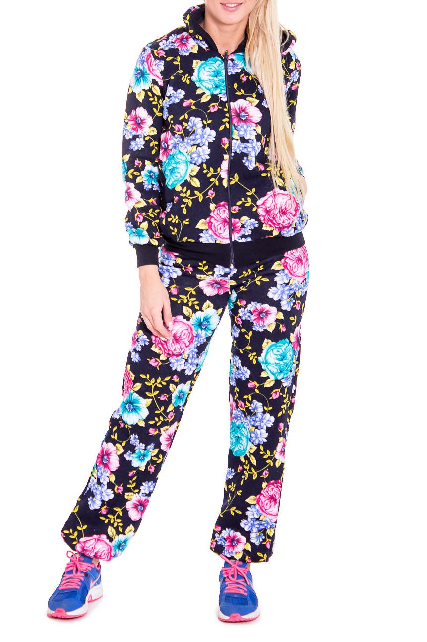 КостюмСпортивные костюмы<br>Яркий спортивный костюм из эластичного трикотажа. Отличный выбор для занятий спортом или активного отдыха  Цвет: черный, розовый, голубой  Рост девушки-фотомодели 170 см.<br><br>По длине: Макси<br>По рисунку: Растительные мотивы,Цветные,Цветочные,С принтом<br>По сезону: Весна,Осень<br>По силуэту: Полуприталенные<br>По форме: Костюм двойка,Брюки<br>По элементам: С капюшоном,С карманами,С манжетами<br>Рукав: Длинный рукав<br>По материалу: Хлопок,Трикотаж<br>По стилю: Спортивный стиль,Молодежный стиль,Повседневный стиль<br>Застежка: С молнией<br>Размер : 42<br>Материал: Трикотаж<br>Количество в наличии: 1