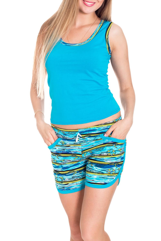 КостюмКомплекты и костюмы<br>Яркий костюм состоит из майки и шортиков. Домашняя одежда, прежде всего, должна быть удобной, практичной и красивой. В нашей домашней одежде Вы будете чувствовать себя комфортно, особенно, по вечерам после трудового дня.  Цвет: голубой и др.  Рост девушки-фотомодели 170 см.<br><br>По рисунку: Цветные,С принтом<br>По сезону: Весна,Зима,Лето,Осень,Всесезон<br>По силуэту: Полуприталенные<br>По форме: Брючные,Костюм двойка<br>Бретели: Широкие бретели<br>Горловина: С- горловина<br>По материалу: Хлопок,Трикотаж<br>Рукав: Без рукавов<br>По длине: До колена<br>Размер : 40-42<br>Материал: Хлопок<br>Количество в наличии: 6