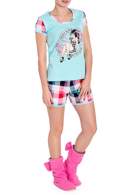 КостюмКомплекты и костюмы<br>Хлопковый комплект состоит из футболки и шортиков. Домашняя одежда, прежде всего, должна быть удобной, практичной и красивой. В наших изделиях Вы будете чувствовать себя комфортно, особенно, по вечерам после трудового дня.  В изделии использованы цвета: голубой и др.  Рост девушки-фотомодели 173 см.<br><br>Горловина: С- горловина<br>По длине: До колена<br>По материалу: Хлопок<br>По рисунку: В клетку,С принтом,Цветные<br>По сезону: Весна,Зима,Лето,Осень,Всесезон<br>По силуэту: Полуприталенные<br>По форме: Брючные,Костюм двойка<br>Рукав: Короткий рукав<br>Размер : 46<br>Материал: Хлопок<br>Количество в наличии: 2