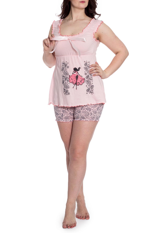 ПижамаПижамы<br>Хлопковая пижама состоит из майки и шорт. Домашняя одежда, прежде всего, должна быть удобной, практичной и красивой. В наших изделиях Вы будете чувствовать себя комфортно, особенно, по вечерам после трудового дня.  В изделии использованы цвета: розовый, серый  Рост девушки-фотомодели 180 см.<br><br>Бретели: Широкие бретели<br>Горловина: С- горловина<br>По длине: До колена<br>По материалу: Трикотаж,Хлопок<br>По рисунку: С принтом,Цветные,Этнические<br>По сезону: Весна,Зима,Лето,Осень,Всесезон<br>По силуэту: Полуприталенные<br>По форме: Брючный костюм,Костюм двойка<br>По элементам: С декором<br>Рукав: Без рукавов<br>Размер : 52<br>Материал: Трикотаж<br>Количество в наличии: 1