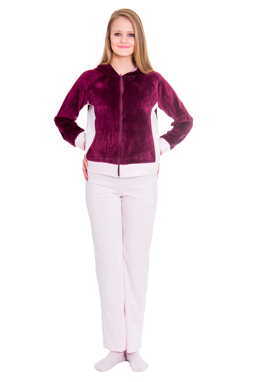 КостюмКомплекты и костюмы<br>Домашняя одежда, прежде всего, должна быть красивой, удобной и практичной. В костюме Вы будете чувствовать себя комфортно, особенно, по вечерам после трудового дня.  Цвет: белый, фиолетовый  Рост девушки-фотомодели 176 см<br><br>По длине: Макси<br>По материалу: Велюровые,Хлопковые<br>По размеру: Маленькие размеры<br>По рисунку: Однотонные<br>По сезону: Зима<br>По силуэту: Полуприталенные<br>По стилю: Возрастные,Молодежные,Повседневные,Теплые<br>По форме: Брючные,Костюм двойка<br>По элементам: С карманами,С молнией<br>Рукав: Длинный рукав<br>Размер : 44,48,50<br>Материал: Велюр<br>Количество в наличии: 1