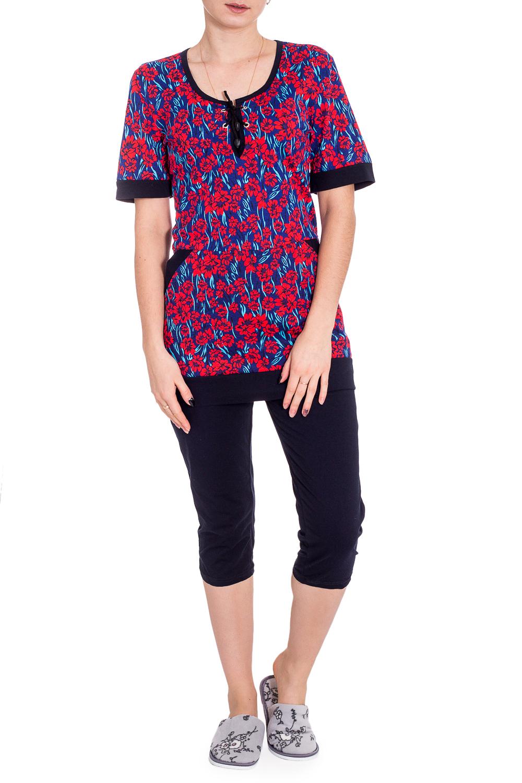КостюмКомплекты и костюмы<br>Хлопковый комплект состоит из футболки и шортиков. Домашняя одежда, прежде всего, должна быть удобной, практичной и красивой. В наших изделиях Вы будете чувствовать себя комфортно, особенно, по вечерам после трудового дня.  В изделии использованы цвета: синий, красный, голубой и др.  Рост девушки-фотомодели 173 см.<br><br>Горловина: С- горловина<br>По длине: Ниже колена<br>По материалу: Хлопок<br>По рисунку: Растительные мотивы,С принтом,Цветные,Цветочные<br>По сезону: Весна,Зима,Лето,Осень,Всесезон<br>По силуэту: Полуприталенные<br>По форме: Брючные,Костюм двойка<br>По элементам: С карманами<br>Рукав: Короткий рукав<br>Размер : 46,48,58,60<br>Материал: Хлопок<br>Количество в наличии: 5