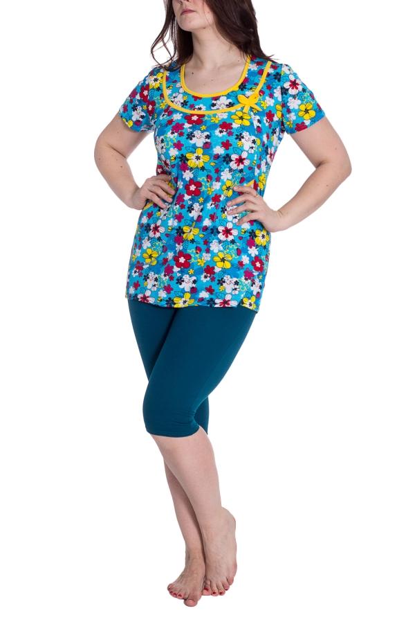 КомплектКомплекты и костюмы<br>Хлопковый комплект, состоящий из туники и бридж. Домашняя одежда, прежде всего, должна быть удобной, практичной и красивой. В нашей одежде Вы будете чувствовать себя комфортно, особенно, по вечерам после трудового дня.  В изделии использованы цвета: синий, голубой и др.  Рост девушки-фотомодели 180 см.<br><br>Горловина: С- горловина<br>По длине: Ниже колена<br>По материалу: Трикотаж,Хлопок<br>По рисунку: Растительные мотивы,С принтом,Цветные,Цветочные<br>По сезону: Весна,Зима,Лето,Осень,Всесезон<br>По силуэту: Приталенные<br>По форме: Брючный костюм,Костюм двойка<br>По элементам: С карманами<br>Рукав: Короткий рукав<br>Размер : 50<br>Материал: Трикотаж<br>Количество в наличии: 1