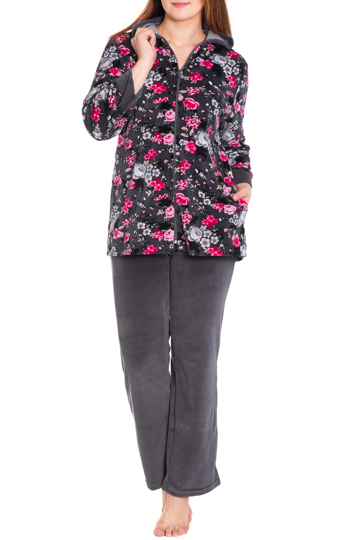 КостюмКомплекты и костюмы<br>Женский костюм с длинными рукавами. Комплект состоит из кофты и брюк. Домашняя одежда, прежде всего, должна быть удобной, практичной и красивой. В костюме Вы будете чувствовать себя комфортно, особенно, по вечерам после трудового дня.  Цвет: серый, розовый  Рост девушки-фотомодели 180 см<br><br>По длине: Макси<br>По рисунку: Растительные мотивы,Цветные,Цветочные,С принтом<br>По силуэту: Полуприталенные<br>По форме: Костюм двойка,Брючные<br>По элементам: С карманами,С молнией,С манжетами<br>Рукав: Длинный рукав<br>По сезону: Зима<br>По материалу: Велюр<br>Размер : 48,50,52,54<br>Материал: Велюр<br>Количество в наличии: 5