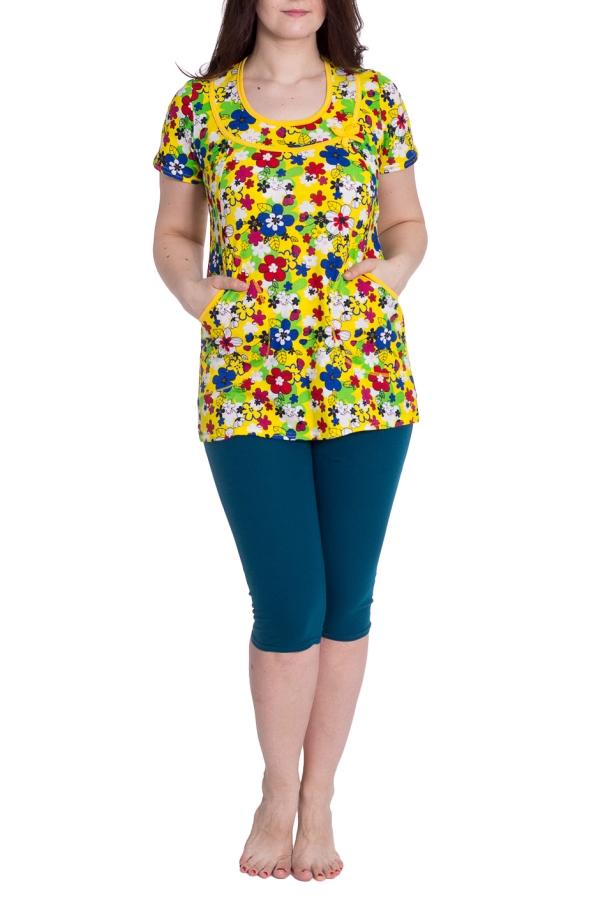КомплектКомплекты и костюмы<br>Хлопковый комплект, состоящий из туники и бридж. Домашняя одежда, прежде всего, должна быть удобной, практичной и красивой. В нашей одежде Вы будете чувствовать себя комфортно, особенно, по вечерам после трудового дня.  В изделии использованы цвета: синий, желтый и др.  Рост девушки-фотомодели 180 см.<br><br>Горловина: С- горловина<br>По длине: Ниже колена<br>По материалу: Трикотаж,Хлопок<br>По рисунку: Растительные мотивы,С принтом,Цветные,Цветочные<br>По сезону: Весна,Зима,Лето,Осень,Всесезон<br>По силуэту: Приталенные<br>По форме: Брючный костюм,Костюм двойка<br>По элементам: С карманами<br>Рукав: Короткий рукав<br>Размер : 50<br>Материал: Трикотаж<br>Количество в наличии: 1