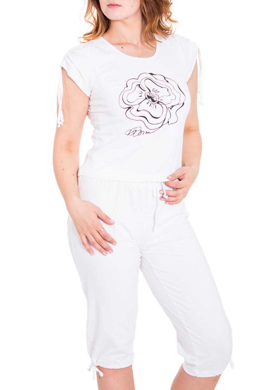 КомплектКомплекты и костюмы<br>Прекрасный женский комплект состоит из бридж и футболки. Домашняя одежда, прежде всего, должна быть удобной, практичной и красивой. В комплекте Вы будете чувствовать себя комфортно, особенно, по вечерам после трудового дня.  Цвет: белый, черный  Рост девушки-фотомодели 169 см.<br><br>Горловина: С- горловина<br>По длине: Миди<br>По материалу: Трикотажные,Хлопковые<br>По размеру: Маленькие размеры<br>По рисунку: Однотонные,С принтом (печатью)<br>По сезону: Весна,Осень<br>По силуэту: Полуприталенные<br>По стилю: Повседневные<br>По форме: Брючные,Костюм двойка<br>По элементам: С декором<br>Рукав: Короткий рукав<br>Размер : 48<br>Материал: Трикотаж<br>Количество в наличии: 1