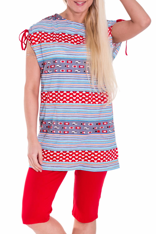 КомплектКомплекты и костюмы<br>Домашний комплект состоит из бридж и туники. Домашняя одежда, прежде всего, должна быть удобной, практичной и красивой. В комплекте Вы будете чувствовать себя комфортно, особенно, по вечерам после трудового дня.  Цвет: красный, голубой  Рост девушки-фотомодели 170 см.<br><br>Горловина: С- горловина<br>По рисунку: В горошек,В полоску,Цветные<br>По сезону: Весна,Осень<br>По силуэту: Полуприталенные<br>По форме: Брючные,Костюм двойка<br>По элементам: С карманами<br>Рукав: Короткий рукав<br>По длине: Ниже колена<br>По материалу: Хлопок<br>Размер : 46<br>Материал: Хлопок<br>Количество в наличии: 2