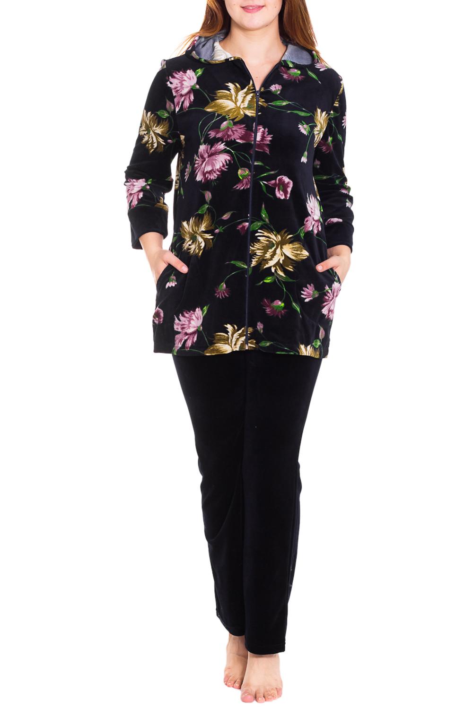 КостюмКомплекты и костюмы<br>Женский костюм с длинными рукавами. Комплект состоит из кофты и брюк. Домашняя одежда, прежде всего, должна быть удобной, практичной и красивой. В костюме Вы будете чувствовать себя комфортно, особенно, по вечерам после трудового дня.  Цвет: черный, розовый, зеленый, бежевый  Рост девушки-фотомодели 180 см<br><br>По длине: Макси<br>По рисунку: Растительные мотивы,Цветные,Цветочные,С принтом<br>По сезону: Зима<br>По силуэту: Полуприталенные<br>По форме: Костюм двойка,Брючный костюм<br>По элементам: С карманами,С молнией<br>Рукав: Длинный рукав<br>По материалу: Велюр,Трикотаж,Хлопок<br>Размер : 52,58<br>Материал: Велюр<br>Количество в наличии: 2