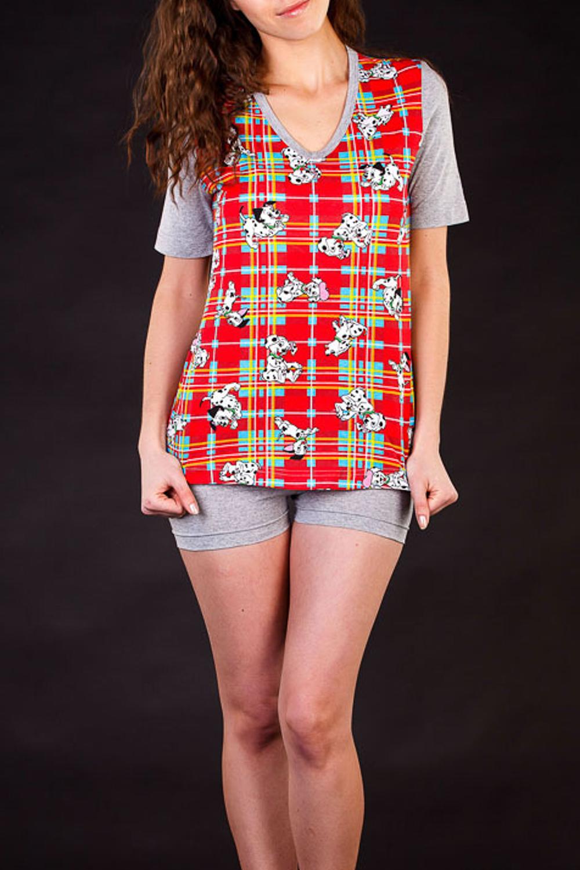 КомплектКомплекты и костюмы<br>Домашний комплект состоит из футболки и шортиков. Домашняя одежда, прежде всего, должна быть удобной, практичной и красивой. В нашей домашней одежде Вы будете чувствовать себя комфортно, особенно, по вечерам после трудового дня  Цвет: серый, красный  Рост девушки-фотомодели 172 см.<br><br>Горловина: V- горловина<br>По рисунку: Цветные,С принтом,В клетку<br>По силуэту: Полуприталенные<br>По форме: Брючные,Костюм двойка<br>Рукав: Короткий рукав<br>По сезону: Лето<br>По длине: До колена<br>По материалу: Трикотаж,Хлопок<br>Размер : 42,48<br>Материал: Хлопок<br>Количество в наличии: 2