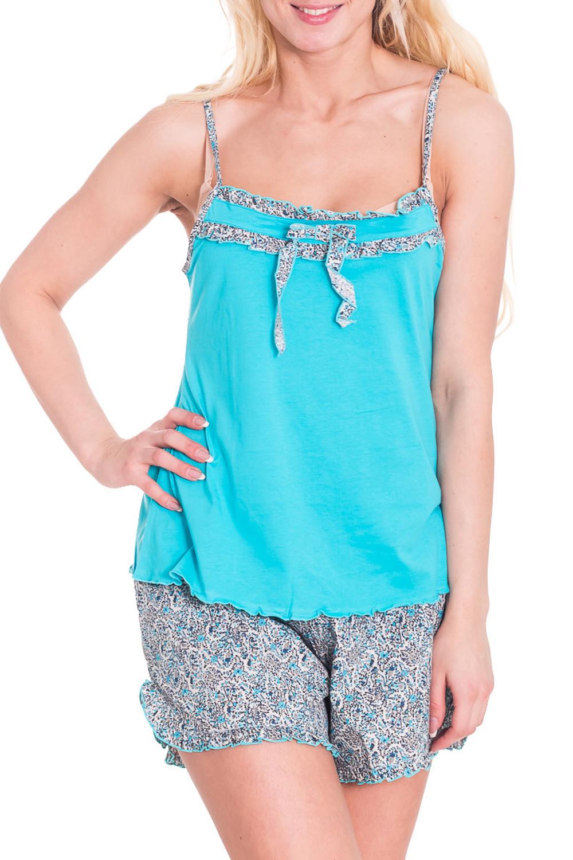 ПижамаПижамы<br>Женская пижама без рукавов. Пижама состоит из шортиков и майки. Домашняя одежда, прежде всего, должна быть удобной, практичной и красивой. В пижаме Вы будете чувствовать себя комфортно, особенно, по вечерам после трудового дня.  Цвет: серый, голубой  Рост девушки-фотомодели 170 см<br><br>Бретели: Тонкие бретели<br>По рисунку: Цветные,С принтом<br>По сезону: Лето<br>По силуэту: Свободные<br>По форме: Костюм двойка,Брючный костюм<br>По длине: До колена<br>Рукав: Без рукавов<br>По элементам: С воланами и рюшами<br>По материалу: Хлопок<br>Размер : 46<br>Материал: Хлопок<br>Количество в наличии: 2