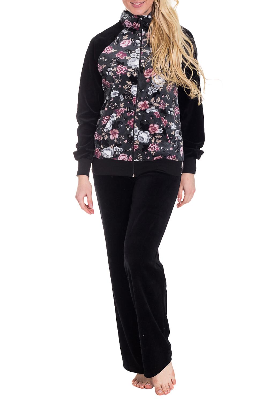 КостюмКомплекты и костюмы<br>Женский костюм с длинными рукавами. Комплект состоит из кофты и брюк. Домашняя одежда, прежде всего, должна быть удобной, практичной и красивой. В костюме Вы будете чувствовать себя комфортно, особенно, по вечерам после трудового дня.  Цвет: черный, серый, розовый, бежевый  Рост девушки-фотомодели 170 см<br><br>Воротник: Отложной<br>По длине: Макси<br>По рисунку: Растительные мотивы,Цветные,Цветочные<br>По сезону: Зима<br>По силуэту: Полуприталенные<br>По форме: Костюм двойка<br>По элементам: С карманами,С молнией<br>Рукав: Длинный рукав<br>По материалу: Велюр,Трикотаж,Хлопок<br>Размер : 44<br>Материал: Велюр<br>Количество в наличии: 1