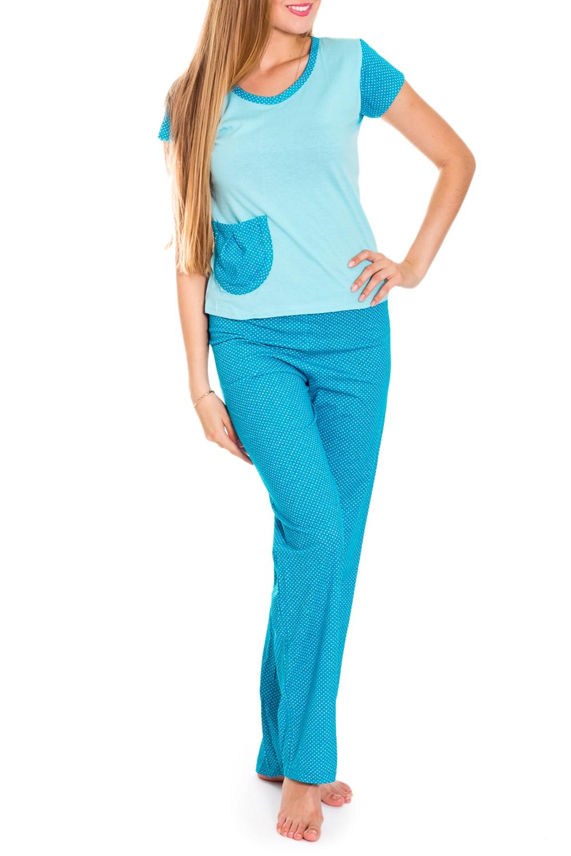 КостюмКомплекты и костюмы<br>Удобный костюм состоит из футболки и брюк. Домашняя одежда, прежде всего, должна быть удобной, практичной и красивой. В нашей домашней одежде Вы будете чувствовать себя комфортно, особенно, по вечерам после трудового дня.  Цвет: голубой, белый  Рост девушки-фотомодели 170 см.<br><br>Горловина: С- горловина<br>По длине: Макси<br>По рисунку: В горошек,Цветные,С принтом<br>По сезону: Весна,Зима,Лето,Осень,Всесезон<br>По силуэту: Полуприталенные<br>По форме: Костюм двойка,Брючный костюм<br>По элементам: С карманами<br>Рукав: Короткий рукав<br>По материалу: Трикотаж,Хлопок<br>Размер : 42-44<br>Материал: Хлопок<br>Количество в наличии: 1