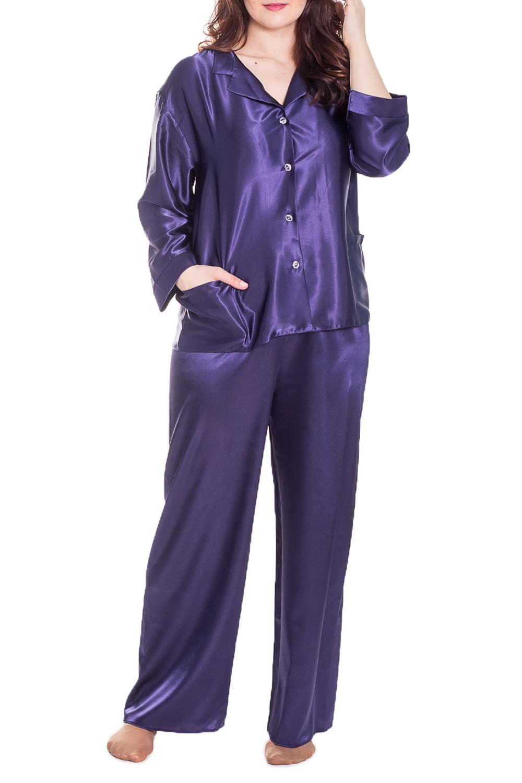 КомплектКомплекты и костюмы<br>Комплект брючный атласный. Кофточка из однотонного атласа, с пуговицами. Брюки из однотонного атласа, на резинке.   Цвет: фиолетовый  Рост девушки-фотомодели 180 см.<br><br>Воротник: Отложной<br>Горловина: V- горловина<br>По длине: Макси<br>По рисунку: Однотонные<br>По сезону: Весна,Зима,Лето,Осень,Всесезон<br>По силуэту: Свободные<br>По форме: Костюм двойка,Брючный костюм<br>По элементам: С карманами<br>Рукав: Длинный рукав<br>По материалу: Атлас<br>Размер : 46-48,54-56<br>Материал: Атлас<br>Количество в наличии: 2