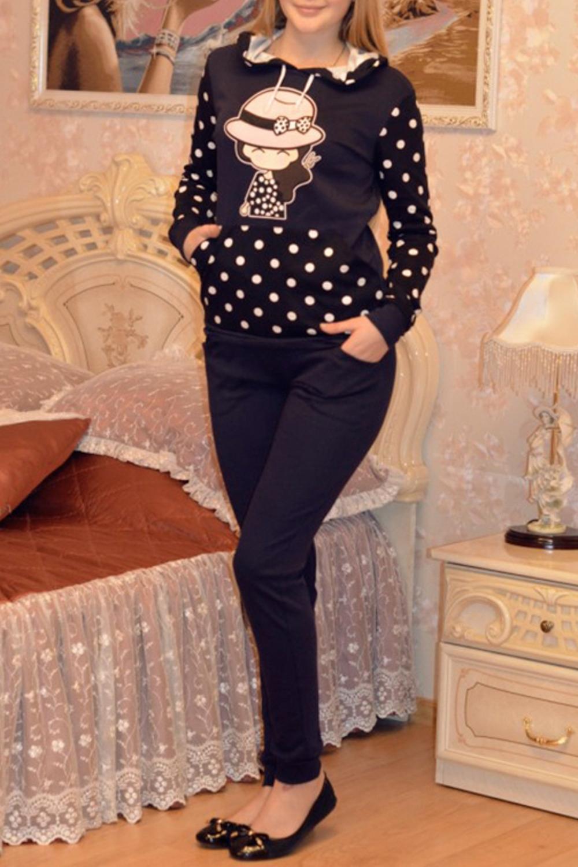 КостюмКомплекты и костюмы<br>Хлопковый костюм состоит из джемпера и брюк. Домашняя одежда, прежде всего, должна быть удобной, практичной и красивой. В наших изделиях Вы будете чувствовать себя комфортно, особенно, по вечерам после трудового дня.  В изделии использованы цвета: синий, черный, белый и др.  Рост девушки-фотомодели 170 см.<br><br>Горловина: С- горловина<br>По длине: Макси<br>По материалу: Хлопок<br>По рисунку: В горошек,С принтом,Цветные<br>По сезону: Весна,Зима,Лето,Осень,Всесезон<br>По силуэту: Полуприталенные<br>По форме: Костюм двойка,Брючный костюм<br>По элементам: С карманами,С манжетами<br>Рукав: Длинный рукав<br>Размер : 44,54<br>Материал: Трикотаж<br>Количество в наличии: 2