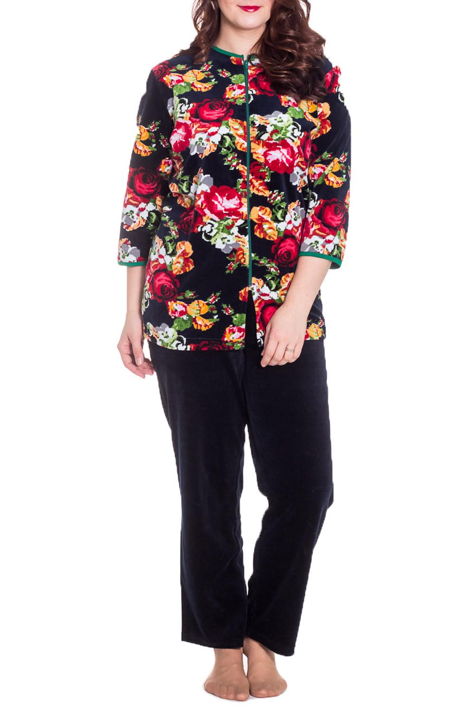 КостюмКомплекты и костюмы<br>Женский костюм с рукавами 3/4. Костюм состоит из кофты и брюк. Домашняя одежда, прежде всего, должна быть удобной, практичной и красивой. В костюме Вы будете чувствовать себя комфортно, особенно, по вечерам после трудового дня.  Цвет: черный, красный, бежевый, зеленый, белый  Рост девушки-фотомодели 180 см<br><br>По стилю: Повседневные<br>По материалу: Велюровые,Трикотажные,Хлопковые<br>По рисунку: Растительные мотивы,С принтом (печатью),Цветные,Цветочные<br>По сезону: Зима<br>По силуэту: Полуприталенные<br>По элементам: С карманами,С молнией<br>По форме: Брючные,Костюм двойка<br>По длине: Макси<br>Рукав: Рукав три четверти<br>Горловина: С- горловина<br>Размер: 54,56,58<br>Материал: 80% хлопок 20% полиэстер<br>Количество в наличии: 2