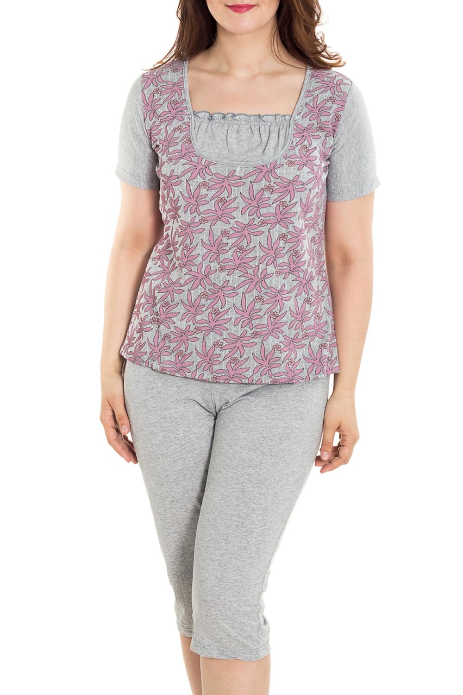 ПижамаПижамы<br>Хлопковая пижама состоит из бридж и футболки. Домашняя одежда, прежде всего, должна быть удобной, практичной и красивой. В наших изделиях Вы будете чувствовать себя комфортно, особенно, по вечерам после трудового дня.  Цвет: серый, розовый  Рост девушки-фотомодели 180 см<br><br>Горловина: С- горловина<br>По рисунку: Цветные,С принтом<br>По силуэту: Полуприталенные<br>По форме: Брючные,Костюм двойка<br>Рукав: Короткий рукав<br>По сезону: Осень,Весна<br>По длине: Ниже колена<br>По материалу: Трикотаж,Хлопок<br>Размер : 48,50,52,54,56,58,60,62<br>Материал: Трикотаж<br>Количество в наличии: 76