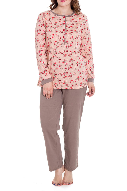 КомплектКомплекты и костюмы<br>Домашний комплект состоит из кофты и брюк. Домашняя одежда, прежде всего, должна быть удобной, практичной и красивой. В нашей домашней одежде Вы будете чувствовать себя комфортно, особенно, по вечерам после трудового дня.  Цвет: коричневый, персиковый, красный  Рост девушки-фотомодели 180 см<br><br>Горловина: С- горловина<br>По материалу: Хлопковые<br>По рисунку: С принтом (печатью),Цветные<br>По сезону: Весна,Зима,Лето,Осень,Всесезон<br>По силуэту: Полуприталенные<br>По стилю: Повседневные<br>По форме: Брючные<br>По элементам: На пуговицах<br>Рукав: Длинный рукав<br>Размер : 54,56,58,60<br>Материал: Хлопок<br>Количество в наличии: 3