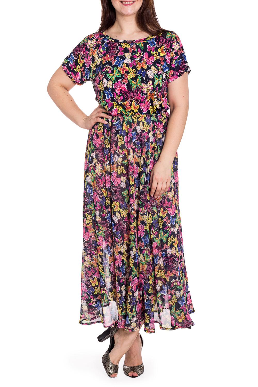 КостюмКостюмы<br>Яркий костюм состоит из блузки и юбки с подкладом. Модель выполнена из приятного трикотажа и воздушного шифона. Юбка на резинке. Отличный выбор для летнего гардероба.В изделии использованы цвета: черный, розовый и др.Рост девушки-фотомодели 180 см<br><br>Горловина: С- горловина<br>Рукав: Короткий рукав<br>Длина: Макси<br>Материал: Вискоза,Трикотаж,Шифон<br>Рисунок: Бабочки,С принтом,Цветные<br>Сезон: Лето<br>Силуэт: Полуприталенные<br>Стиль: Повседневный стиль,Летний стиль<br>Форма: Костюм двойка,Юбочный костюм<br>Элементы: С подкладом<br>Размер : 44<br>Материал: Холодное масло + Шифон<br>Количество в наличии: 1