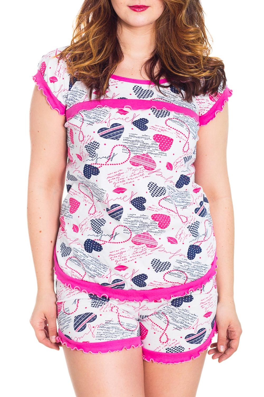 ПижамаПижамы<br>Хлопковая пижама состоит из футболки и шортиков. Домашняя одежда, прежде всего, должна быть удобной, практичной и красивой. В пижаме Вы будете чувствовать себя комфортно, особенно, по вечерам после трудового дня.  Цвет: белый, розовый, синий  Рост девушки-фотомодели 180 см<br><br>Горловина: С- горловина<br>По длине: До колена<br>По материалу: Трикотаж,Хлопок<br>По рисунку: Абстракция,Цветные<br>По силуэту: Полуприталенные<br>По форме: Брючные,Костюм двойка<br>По элементам: С декором<br>Рукав: Короткий рукав<br>По сезону: Лето<br>Размер : 40,48,52<br>Материал: Трикотаж<br>Количество в наличии: 3
