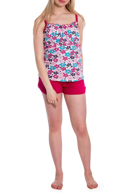 ПижамаПижамы<br>Хлопковая пижама состоит из майки и шорт. Домашняя одежда, прежде всего, должна быть удобной, практичной и красивой. В наших изделиях Вы будете чувствовать себя комфортно, особенно, по вечерам после трудового дня.  В изделии использованы цвета: розовый, белый, голубой и др.  Рост девушки-фотомодели 170 см<br><br>Бретели: Тонкие бретели<br>По длине: До колена<br>По материалу: Трикотаж,Хлопок<br>По рисунку: Растительные мотивы,С принтом,Цветные,Цветочные<br>По сезону: Весна,Зима,Лето,Осень,Всесезон<br>По силуэту: Полуприталенные<br>По форме: Брючный костюм,Костюм двойка<br>Рукав: Без рукавов<br>Размер : 44,46,48,50,52,54<br>Материал: Трикотаж<br>Количество в наличии: 7