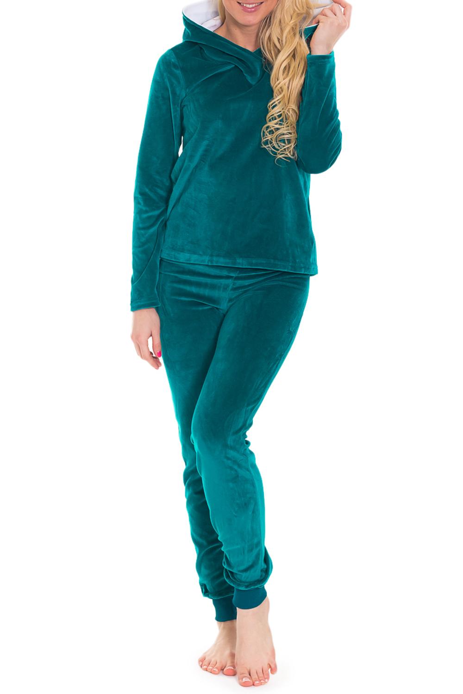 КостюмКомплекты и костюмы<br>Женский костюм с длинными рукавами. Костюм состоит из кофты и брюк. Домашняя одежда, прежде всего, должна быть удобной, практичной и красивой. В костюме Вы будете чувствовать себя комфортно, особенно, по вечерам после трудового дня.  Цвет: бирюзовый  Рост девушки-фотомодели 170 см.<br><br>По стилю: Повседневные<br>По материалу: Велюровые<br>По рисунку: Однотонные<br>По сезону: Зима,Весна,Осень<br>По силуэту: Полуприталенные<br>По элементам: С карманами<br>По форме: Брючные,Костюм двойка<br>По длине: Макси<br>Рукав: Длинный рукав,С манжетой<br>Размер: 42,44,46<br>Материал: 80% хлопок 20% полиэстер<br>Количество в наличии: 3