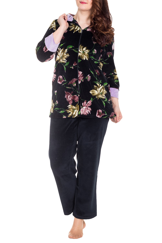 КостюмКомплекты и костюмы<br>Женский костюм с рукавами 3/4. Комплект состоит из кофты и брюк. Домашняя одежда, прежде всего, должна быть удобной, практичной и красивой. В костюме Вы будете чувствовать себя комфортно, особенно, по вечерам после трудового дня.  Цвет: черный, розовый, желтый, зеленый  Рост девушки-фотомодели 180 см<br><br>Воротник: Стойка<br>По длине: Макси<br>По материалу: Велсофт,Хлопок<br>По рисунку: Растительные мотивы,Цветные,Цветочные,С принтом<br>По силуэту: Полуприталенные<br>По форме: Брючные,Костюм двойка<br>По элементам: С карманами,С молнией<br>Рукав: Рукав три четверти<br>По сезону: Зима<br>Размер : 46,48,56,58,60<br>Материал: Велсофт<br>Количество в наличии: 6