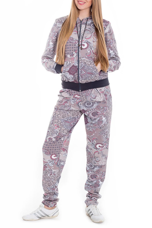 КостюмСпортивные костюмы<br>Спортивный костюм из эластичного трикотажа. Отличный выбор для занятий спортом или активного отдыха  Цвет: серый, розовый, сиреневый  Рост девушки-фотомодели 170 см.<br><br>Застежка: С молнией<br>По длине: Макси<br>По материалу: Трикотаж,Хлопок<br>По рисунку: С принтом,Цветные<br>По силуэту: Полуприталенные<br>По стилю: Повседневный стиль<br>По форме: Брюки,Костюм двойка<br>По элементам: С капюшоном,С карманами,С манжетами<br>Рукав: Длинный рукав<br>По сезону: Осень,Весна<br>Размер : 42,48<br>Материал: Трикотаж<br>Количество в наличии: 2