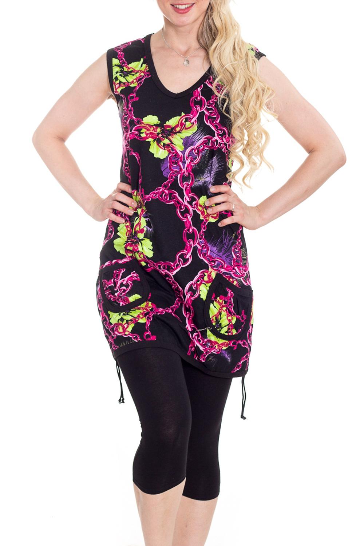 КостюмКомплекты и костюмы<br>Хлопковый домашний костюм состоит из туники и бридж. Домашняя одежда, прежде всего, должна быть удобной, практичной и красивой. В нашей домашней одежде Вы будете чувствовать себя комфортно, особенно, по вечерам после трудового дня.  В изделии использованы цвета: черный, розовый, салатовый  Рост девушки-фотомодели 170 см.<br><br>Бретели: Широкие бретели<br>Горловина: С- горловина<br>По длине: Миди<br>По материалу: Трикотажные,Хлопковые<br>По рисунку: С принтом (печатью),Цветные<br>По сезону: Весна,Зима,Лето,Осень,Всесезон<br>По силуэту: Полуприталенные<br>По стилю: Повседневные<br>По форме: Брючные,Костюм двойка<br>По элементам: Без рукавов<br>Размер : 42-44<br>Материал: Трикотаж<br>Количество в наличии: 1
