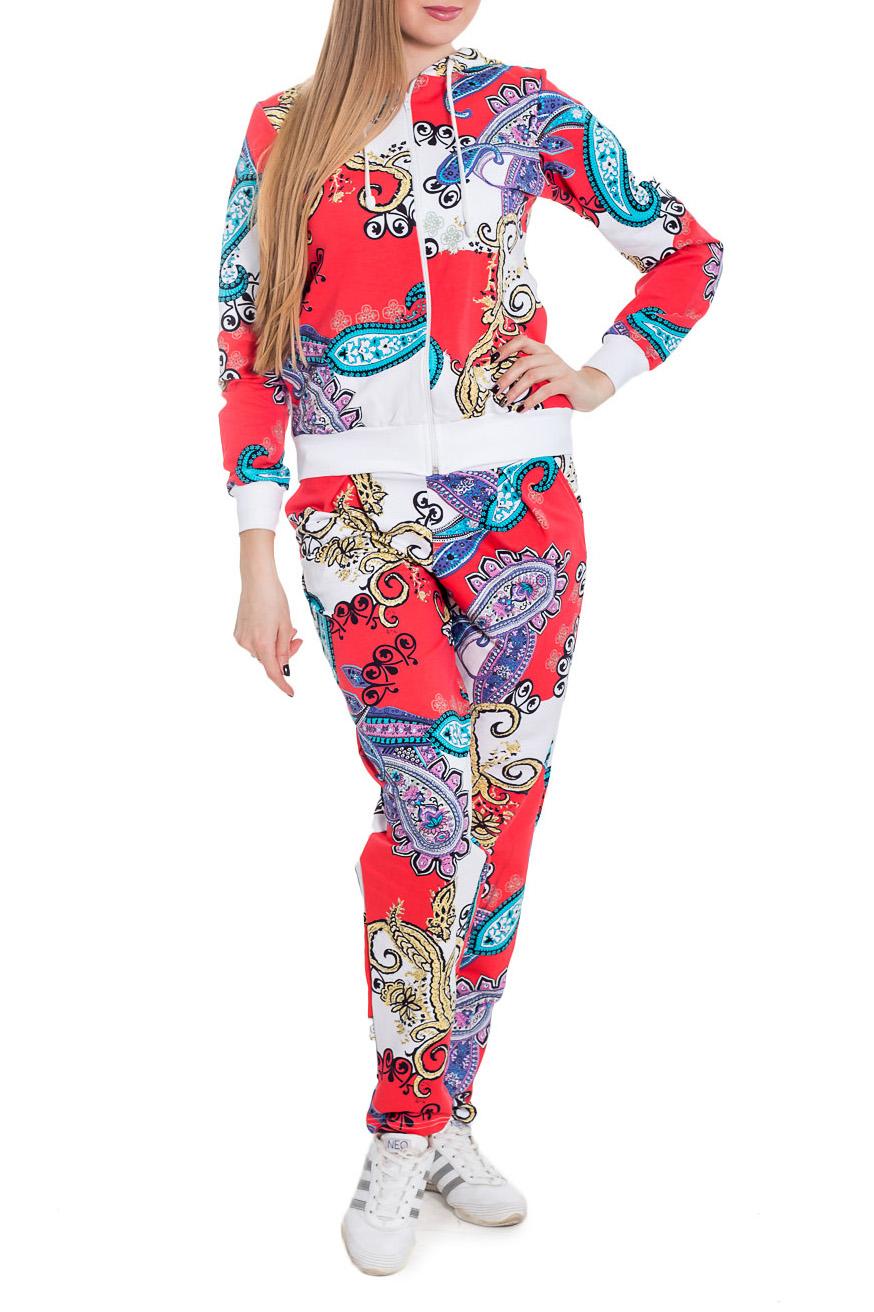 КостюмСпортивные костюмы<br>Спортивный костюм из эластичного трикотажа. Отличный выбор для занятий спортом или активного отдыха  Цвет: коралловый, белый, голубой, сиреневый  Рост девушки-фотомодели 170 см.<br><br>Застежка: С молнией<br>По длине: Макси<br>По материалу: Трикотаж,Хлопок<br>По рисунку: С принтом,Цветные,Этнические<br>По силуэту: Полуприталенные<br>По стилю: Повседневный стиль<br>По форме: Брюки,Костюм двойка<br>По элементам: С капюшоном,С карманами,С манжетами<br>Рукав: Длинный рукав<br>По сезону: Осень,Весна<br>Размер : 44,48<br>Материал: Трикотаж<br>Количество в наличии: 4