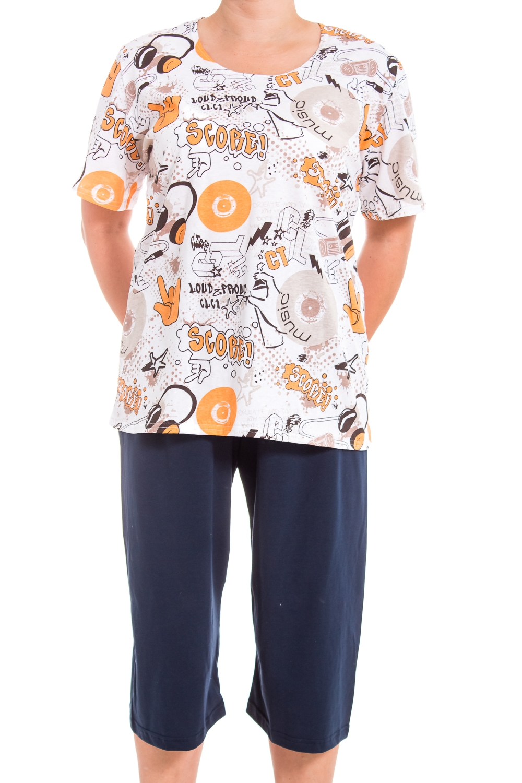 КостюмКомплекты и костюмы<br>Хлопковый домашний костюм состоит из футболки и бридж. Домашняя одежда, прежде всего, должна быть удобной, практичной и красивой. В нашей домашней одежде Вы будете чувствовать себя комфортно, особенно, по вечерам после трудового дня.  В изделии использованы цвета: синий, белый, желтый  Ростовка изделия 170 см.<br><br>Горловина: С- горловина<br>По рисунку: Цветные,С принтом<br>По сезону: Весна,Зима,Лето,Осень,Всесезон<br>По силуэту: Полуприталенные<br>По форме: Брючные,Костюм двойка<br>Рукав: Короткий рукав<br>По длине: Ниже колена<br>По материалу: Трикотаж,Хлопок<br>Размер : 52-54,56-58<br>Материал: Трикотаж<br>Количество в наличии: 41