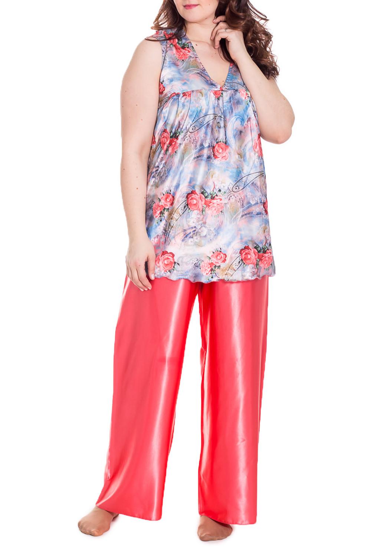 КомплектКомплекты и костюмы<br>Комплект брючный атласный. Туника из набивного атласа, брюки из однотонного атласа.  Цвет: коралловый, голубой  Рост девушки-фотомодели 180 см.<br><br>По стилю: Повседневные<br>По материалу: Атласные<br>По рисунку: С принтом (печатью),Цветные,Цветочные,Растительные мотивы<br>По сезону: Лето,Осень,Всесезон,Весна,Зима<br>По силуэту: Свободные<br>По элементам: Без рукавов<br>По форме: Брючные,Костюм двойка<br>По длине: Макси<br>Горловина: V- горловина<br>Бретели: Широкие бретели<br>Размер: 54-56<br>Материал: 100% полиэстер<br>Количество в наличии: 1