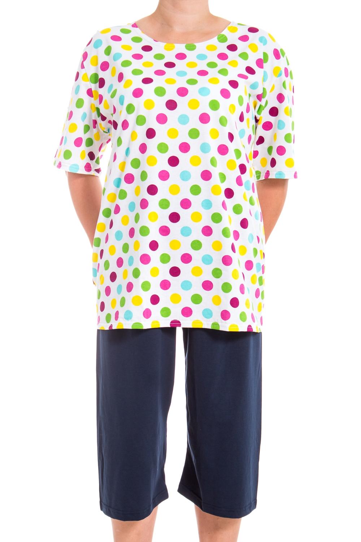 КостюмКомплекты и костюмы<br>Хлопковый домашний костюм состоит из футболки и бридж. Домашняя одежда, прежде всего, должна быть удобной, практичной и красивой. В нашей домашней одежде Вы будете чувствовать себя комфортно, особенно, по вечерам после трудового дня.  В изделии использованы цвета: синий, белый и др.  Ростовка изделия 170 см.<br><br>Горловина: С- горловина<br>По длине: Миди<br>По материалу: Трикотажные,Хлопковые<br>По рисунку: В горошек,С принтом (печатью),Цветные<br>По сезону: Весна,Зима,Лето,Осень,Всесезон<br>По силуэту: Полуприталенные<br>По стилю: Повседневные<br>По форме: Брючные,Костюм двойка<br>Рукав: Короткий рукав<br>Размер : 56-58<br>Материал: Трикотаж<br>Количество в наличии: 6