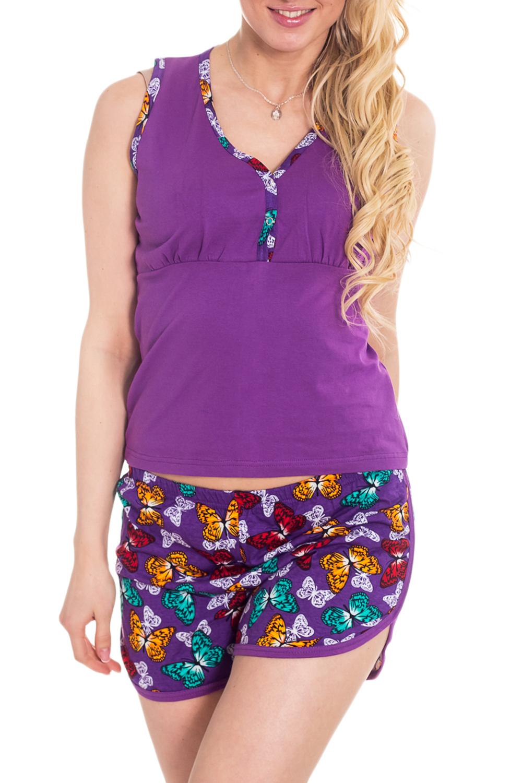 КомплектКомплекты и костюмы<br>Домашний комплект (майка + шорты). Домашняя одежда, прежде всего, должна быть удобной, практичной и красивой. В комплекте Вы будете чувствовать себя комфортно, особенно, по вечерам после трудового дня.  Цвет: фиолетовый и др.  Рост девушки-фотомодели 170 см<br><br>Горловина: V- горловина<br>По рисунку: Бабочки,Цветные,С принтом<br>По сезону: Весна,Зима,Лето,Осень,Всесезон<br>По силуэту: Полуприталенные<br>По форме: Брючные,Костюм двойка<br>По элементам: С декором<br>По длине: До колена<br>По материалу: Трикотаж,Хлопок<br>Рукав: Без рукавов<br>Размер : 42<br>Материал: Трикотаж<br>Количество в наличии: 1