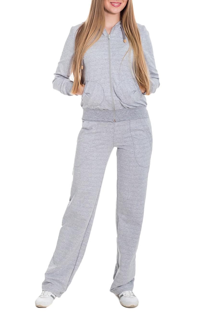 КостюмСпортивные костюмы<br>Спортивный костюм из эластичного трикотажа. Отличный выбор для занятий спортом или активного отдыха  Цвет: серый  Рост девушки-фотомодели 170 см.<br><br>Застежка: С молнией<br>По длине: Макси<br>По материалу: Трикотаж,Хлопок<br>По рисунку: Однотонные<br>По силуэту: Полуприталенные<br>По стилю: Повседневный стиль,Спортивный стиль<br>По форме: Брюки,Костюм двойка<br>По элементам: С капюшоном,С карманами,С манжетами<br>Рукав: Длинный рукав<br>По сезону: Осень,Весна<br>Размер : 44,48,50<br>Материал: Трикотаж<br>Количество в наличии: 5