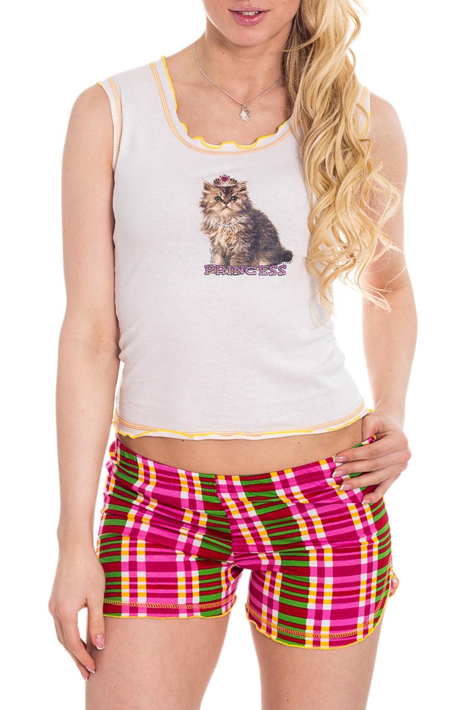 КомплектКомплекты и костюмы<br>Домашний комплект (майка + шорты). Домашняя одежда, прежде всего, должна быть удобной, практичной и красивой. В комплекте Вы будете чувствовать себя комфортно, особенно, по вечерам после трудового дня.  Цвет: белый, розовый и др.  Рост девушки-фотомодели 170 см<br><br>Горловина: С- горловина<br>По рисунку: Животные мотивы,Цветные,С принтом,В клетку<br>По сезону: Весна,Зима,Лето,Осень,Всесезон<br>По силуэту: Приталенные<br>По форме: Костюм двойка,Брючный костюм<br>По элементам: С декором<br>По длине: До колена<br>По материалу: Трикотаж,Хлопок<br>Рукав: Без рукавов<br>Размер : 40<br>Материал: Трикотаж<br>Количество в наличии: 1