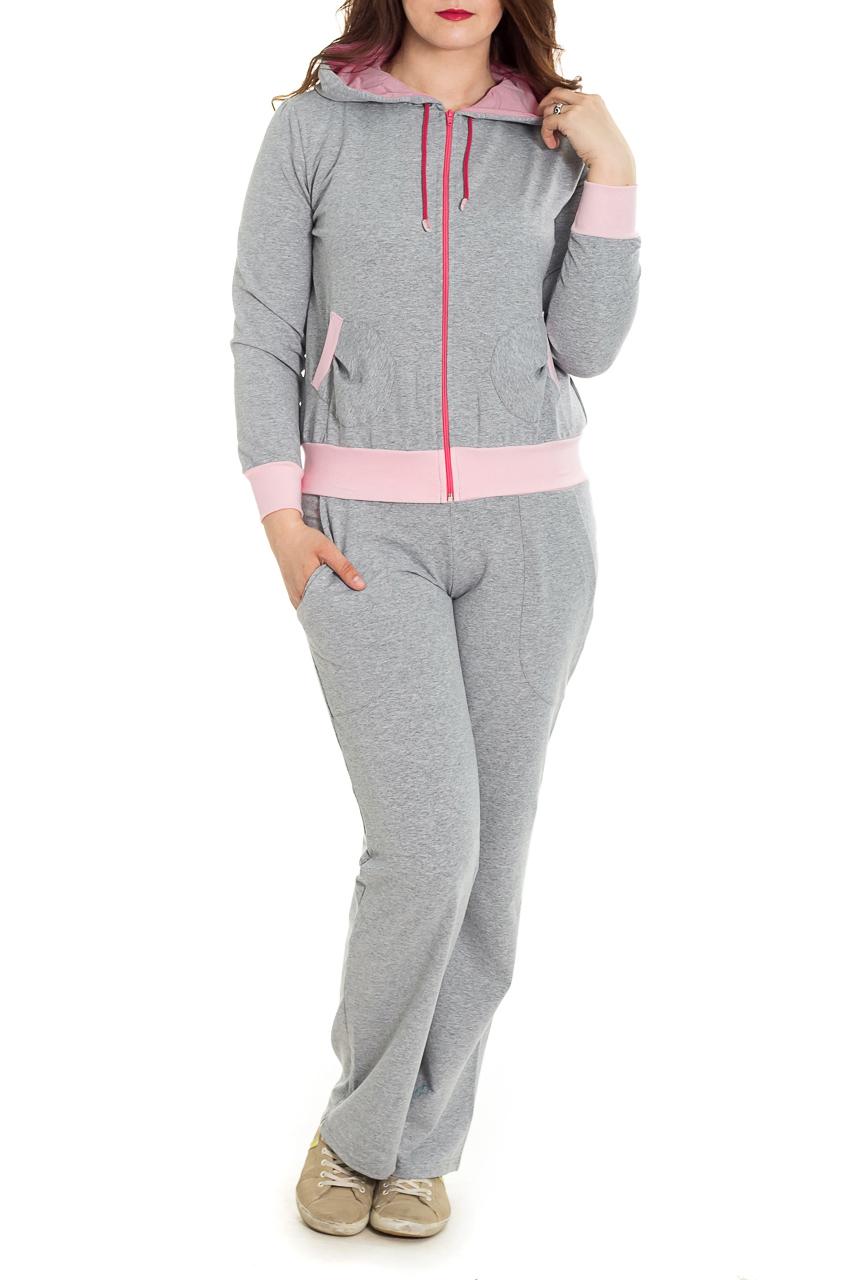 КостюмСпортивные костюмы<br>Спортивный костюм из эластичного трикотажа. Отличный выбор для занятий спортом или активного отдыха  Цвет: серый, розовый  Рост девушки-фотомодели 180 см.<br><br>Застежка: С молнией<br>По длине: Макси<br>По материалу: Трикотаж,Хлопок<br>По рисунку: Цветные<br>По силуэту: Полуприталенные<br>По стилю: Повседневный стиль,Спортивный стиль<br>По форме: Костюм двойка,Спортивные брюки<br>По элементам: С капюшоном,С карманами,С манжетами<br>Рукав: Длинный рукав<br>По сезону: Осень,Весна<br>Размер : 46,52,54<br>Материал: Трикотаж<br>Количество в наличии: 3