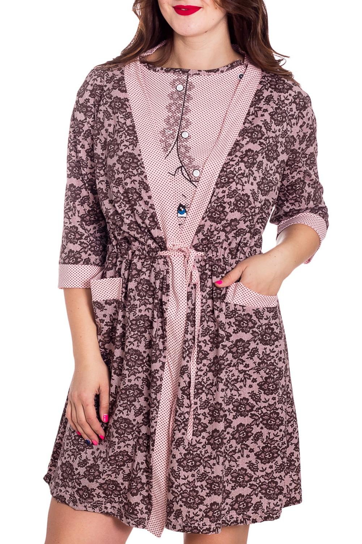 КомплектКомплекты и костюмы<br>Удобный хлопковый комплект. Домашняя одежда, прежде всего, должна быть удобной, практичной и красивой. В комплекте Вы будете чувствовать себя комфортно, особенно, по вечерам после трудового дня.  В изделии использованы цвета: розовый, коричневый  Рост девушки-фотомодели 180 см.<br><br>Горловина: С- горловина<br>По длине: До колена<br>По материалу: Трикотаж,Хлопок<br>По рисунку: С принтом,Цветные<br>По сезону: Весна,Зима,Лето,Осень,Всесезон<br>По силуэту: Приталенные<br>По форме: Костюм двойка,Юбочные<br>По элементам: С карманами<br>Рукав: Рукав три четверти<br>Размер : 48<br>Материал: Трикотаж<br>Количество в наличии: 1