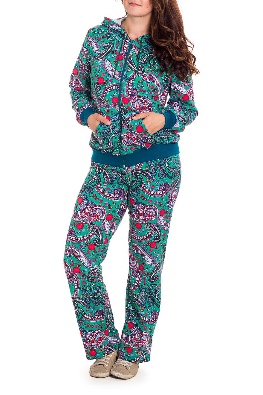 КостюмСпортивные костюмы<br>Спортивный костюм из эластичного трикотажа. Отличный выбор для занятий спортом или активного отдыха.  В изделии использованы цвета: бирюзовый и др.  Рост девушки-фотомодели 180 см.<br><br>Застежка: С молнией<br>По материалу: Трикотаж<br>По рисунку: С принтом,Цветные,Этнические<br>По силуэту: Полуприталенные<br>По стилю: Молодежный стиль,Спортивный стиль<br>По форме: Брюки,Костюм двойка<br>По элементам: С капюшоном,С карманами<br>Рукав: Длинный рукав<br>По сезону: Осень,Весна<br>Размер : 52,54,60<br>Материал: Трикотаж<br>Количество в наличии: 3