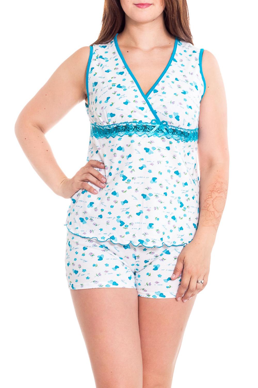 ПижамаПижамы<br>Хлопковая пижама состоит из майки и шортиков. Домашняя одежда, прежде всего, должна быть удобной, практичной и красивой. В наших изделиях Вы будете чувствовать себя комфортно, особенно, по вечерам после трудового дня.  В изделии использован цвета: белый, голубой  Рост девушки-фотомодели 180 см<br><br>Горловина: V- горловина<br>По рисунку: Цветные,С принтом<br>По сезону: Весна,Зима,Лето,Осень,Всесезон<br>По силуэту: Полуприталенные<br>Рукав: Без рукавов<br>По материалу: Хлопок<br>Размер : 46,48<br>Материал: Хлопок<br>Количество в наличии: 2