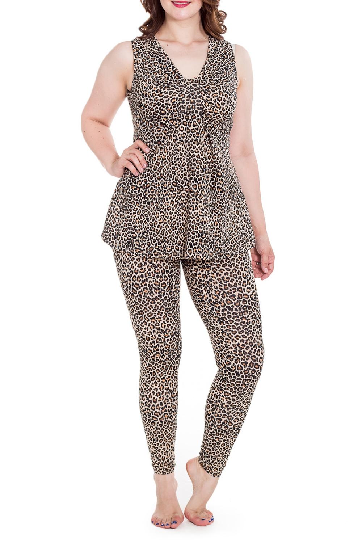 КомплектКомплекты и костюмы<br>Домашний комплект состоит из туники и лосин. Домашняя одежда, прежде всего, должна быть удобной, практичной и красивой. В нашей домашней одежде Вы будете чувствовать себя комфортно, особенно, по вечерам после трудового дня.  Цвет: леопард  Рост девушки-фотомодели 180 см<br><br>Горловина: V- горловина<br>По длине: Макси<br>По рисунку: Леопард,Цветные,С принтом<br>По сезону: Весна,Зима,Лето,Осень,Всесезон<br>По силуэту: Полуприталенные<br>По форме: Брючные<br>По материалу: Трикотаж,Хлопок<br>Рукав: Без рукавов<br>Размер : 48<br>Материал: Трикотаж<br>Количество в наличии: 1