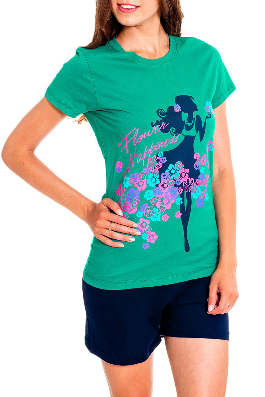 КомплектКомплекты и костюмы<br>Удобный комплект состоит из футболки и шортиков. Домашняя одежда, прежде всего, должна быть удобной, практичной и красивой. В наших изделиях Вы будете чувствовать себя комфортно, особенно, по вечерам после трудового дня.  В изделии использованы цвета: зеленый, синий и др.  Рост девушки-фотомодели 170 см<br><br>Горловина: С- горловина<br>По рисунку: Цветные,С принтом<br>По силуэту: Приталенные<br>По форме: Костюм двойка<br>Рукав: Короткий рукав<br>По сезону: Лето<br>По длине: До колена<br>По материалу: Трикотаж,Хлопок<br>Размер : 44,50,54,56<br>Материал: Хлопок<br>Количество в наличии: 7